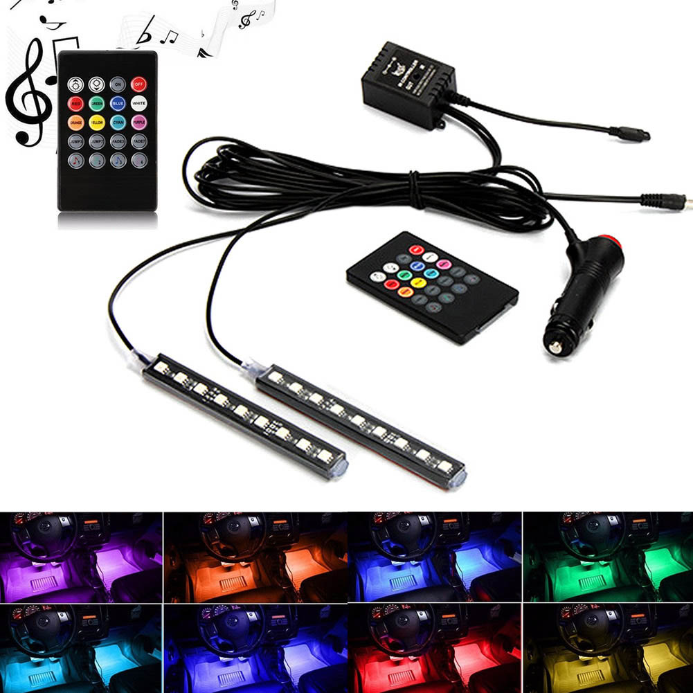 2 Pcs 12V Car Atmosphere Lights Waterproof Light Strips Flexible LED Auto Interior Decoration Floor Lamp Lighting Kit CSL2017 yijinsheng 4x12 led 7 colors car atmosphere lights decoration lamp 12v auto interior lights glow decorative cigarette lighter