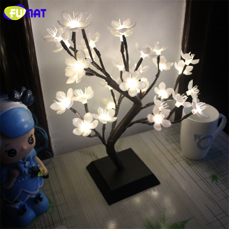 FUMAT Blossom Tree Night Lights Living Room Novelty Plum Lamp LED Rose Lamps Decoration