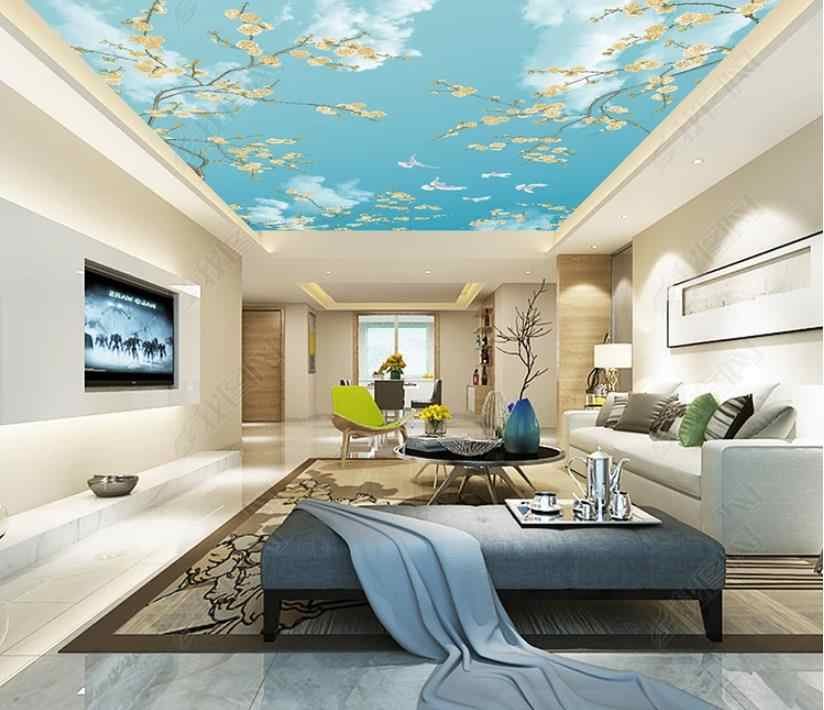 Blue sky and white clouds ceiling wallpaper for walls 3 d wallpaper home decor 3d ceiling wall murals home improvement