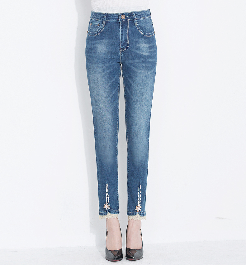 KSTUN FERZIGE Women's Jeans 2020 High Waist Straight Slim Fit Stretch Lace Designer Hand Beads Sexy Ladies Trousers Denim Pants Femme 15