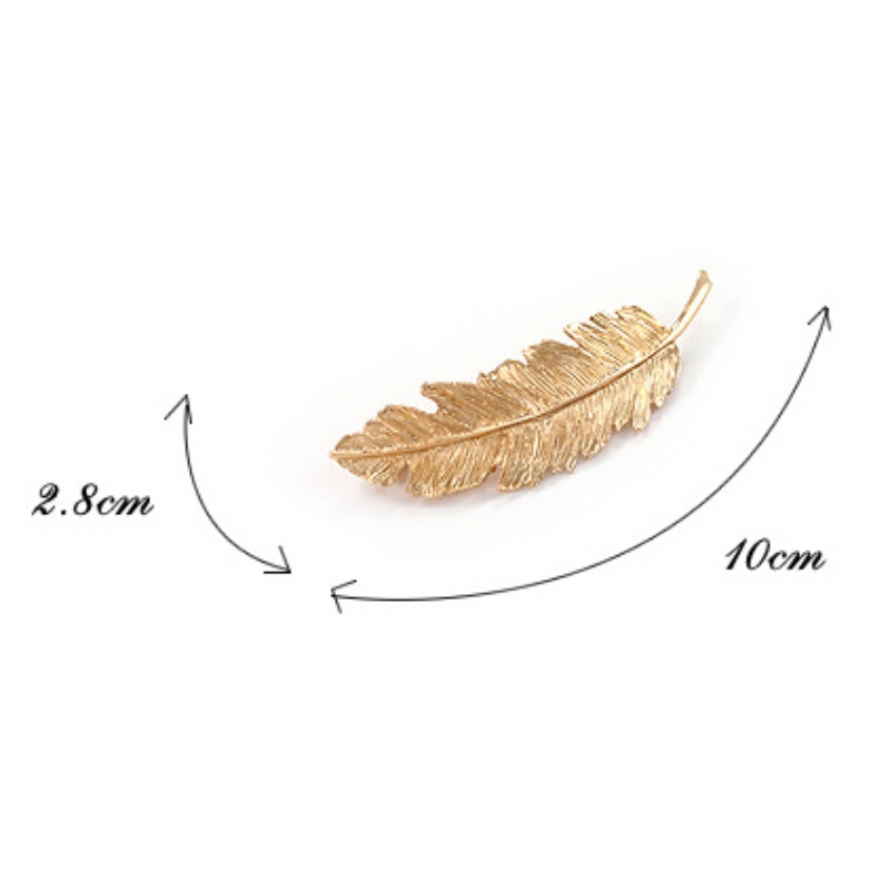 f697239e9 Hot Sale Metal Leaf Hair Clip Feather Hairpin Side Clip Horsetail Hair  Spring Clip Fashion Solid Hairbands-in Hair Accessories from Women's  Clothing ...