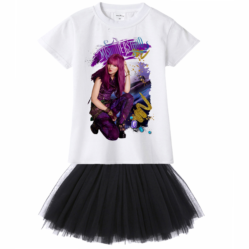 1Yto12Y Movie Descendants 2 Teens Gir Dress Kids Fashion Casual Tutu Dress Children Girl Princess Party Costume Summer Clothes children girl tutu dress super hero girl halloween costume kids summer tutu dress party photography girl clothing