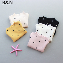 B&N Spring Autumn Printed Girl Sweater Long Sleeve Cotton Heart Fashion Tops Cute Candy Knitted Thickened Baby Girls Pullover