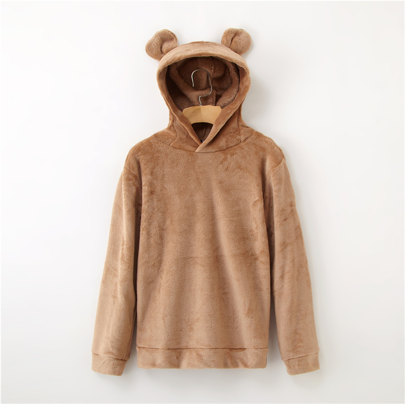 Women's Flannel Hoodies Sweatshirts Lovely With Bears Ears Solid Warm Hoodie Autumn Winter Casual Campus Pullovers Coat 10