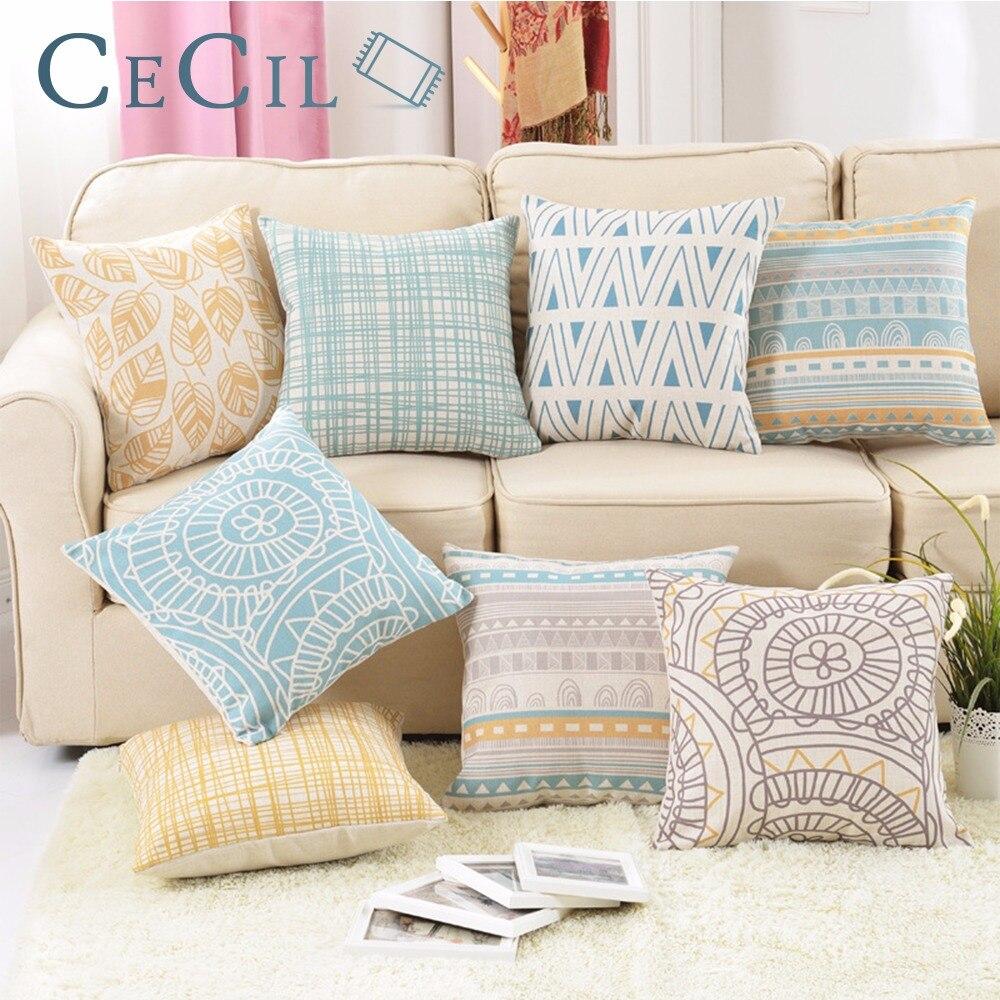 Vintage Retro Geometric Cushion Cover Striped Printed Cotton Linen Throw Pillow Covers Cases Sofa Office Lumbar Pillowcase