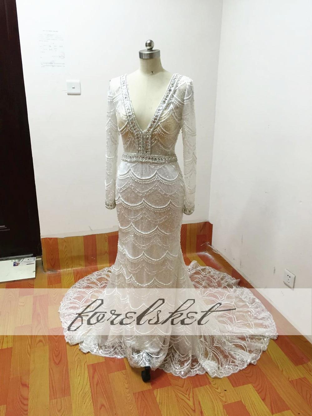 Högkvalitativa sjöjungfrun brudklänningar 2017 tunga pärlor - Bröllopsklänningar - Foto 6