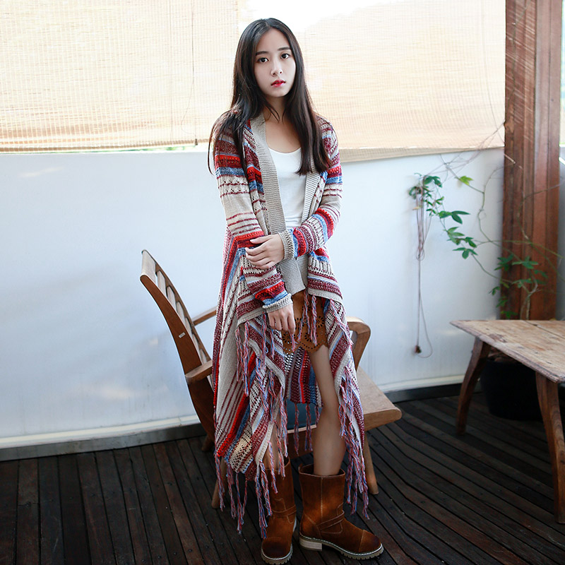 Spring Women Bohemian Loose Knitting Cardigans Long Sleeve Tassel Irregular Hem Jackets Thin Stripe Long Sweater Coat Cardigan