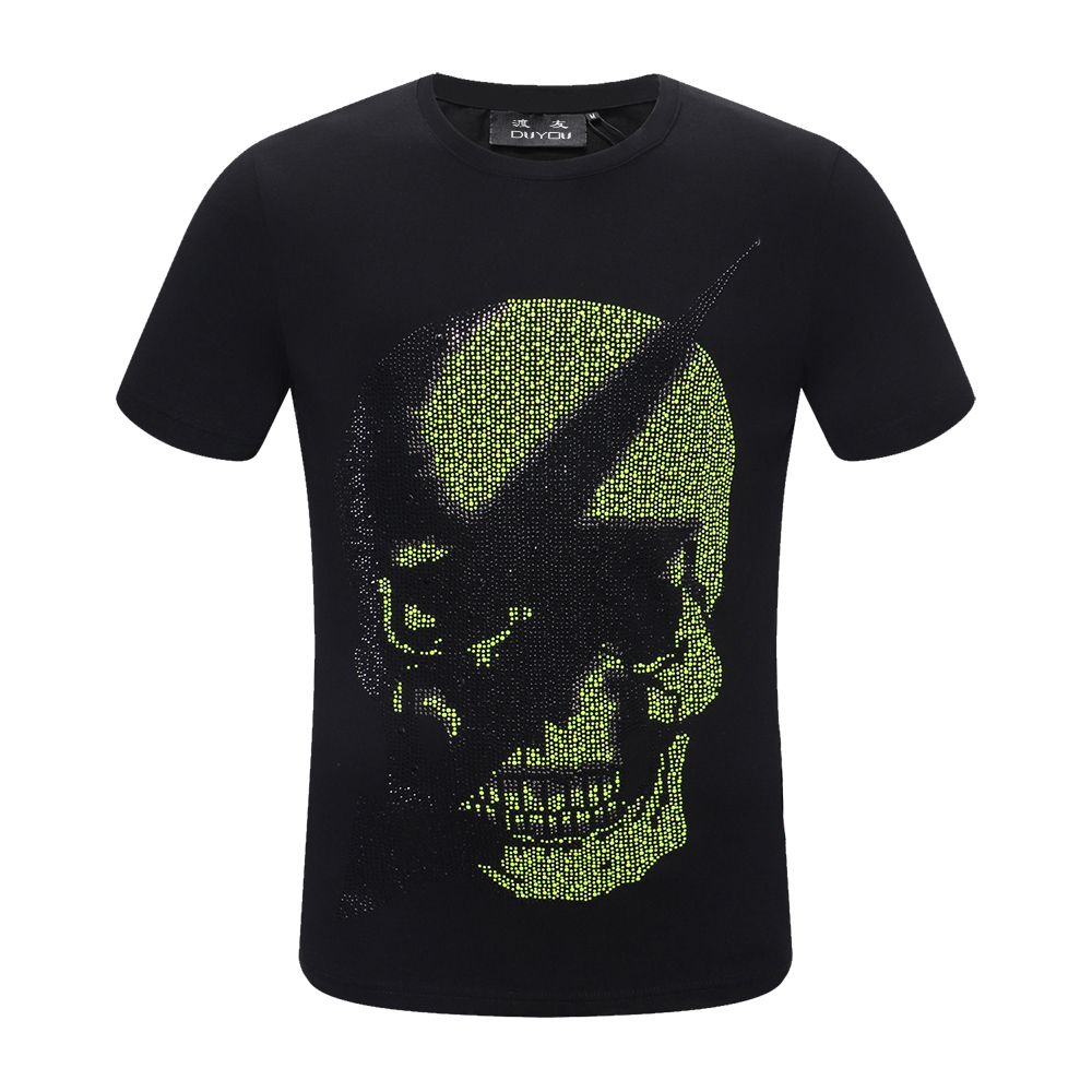PP Bag Packaging!Mens Designer T Shirt Men Short Sleeves Tshirt Men Cotton Tees Summer Rhinestone Lightning Arrow Skull T Shirts