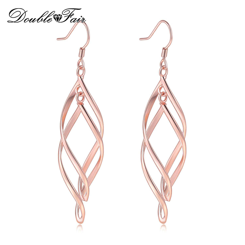 Detail Feedback Questions about Double Fair Twist Metal Loop Spiral Drop  Earrings For Women Long Wave Dangle Earring Trendy Style Ear Jewelry For  Lady ... 729c5aa99656