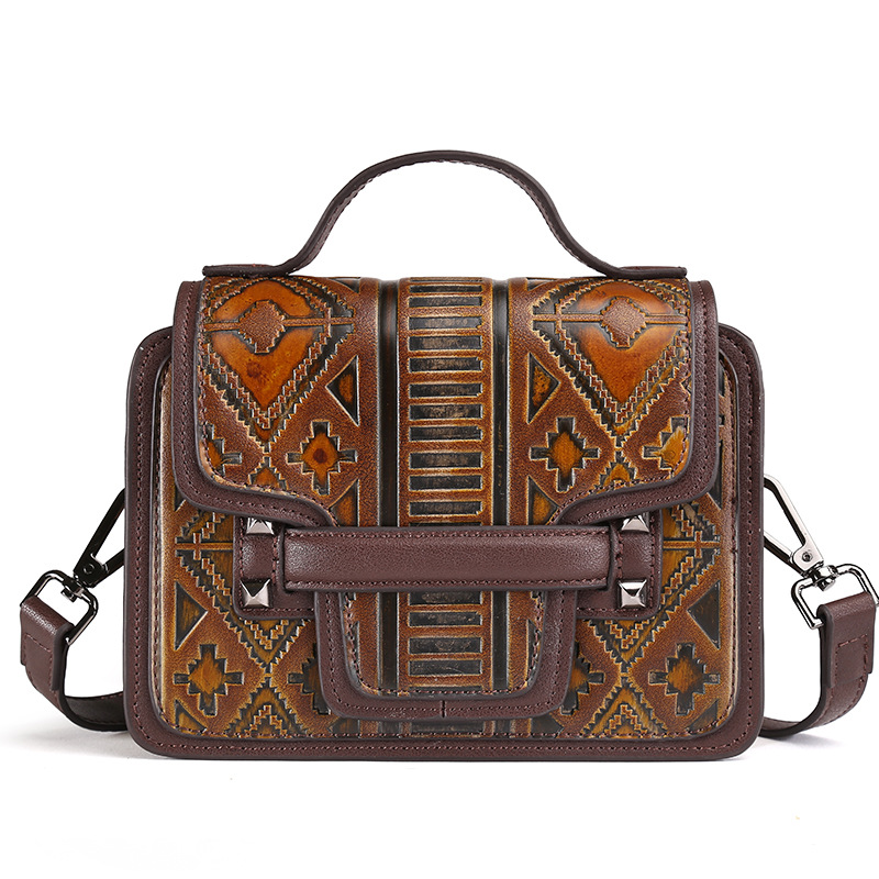 BRAND Brand New Fashion Women handbag Good Quality PVC Should Message Bag Embossed Floral Vintage Bag For Ladies 2 Color Small