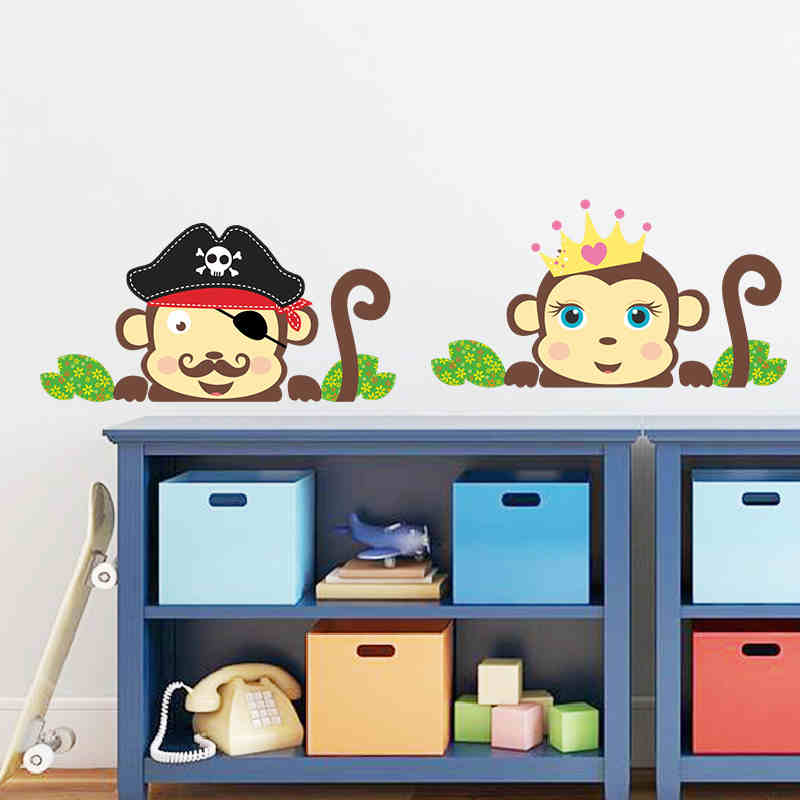 4 Cute Monkeys Wall Decals Sticker Nursery Decor Mural: Pirate Captain Couple Cute Monkeys Wall Stickers For Kids