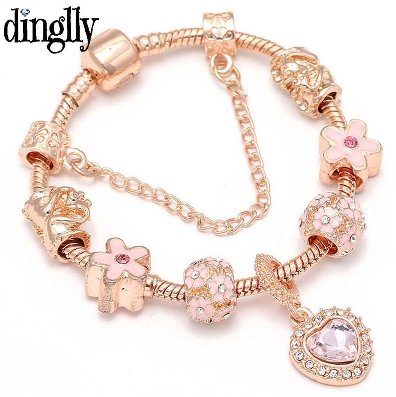 DINGLLY Rose Gold Vintage Heart Beads Bear Brands Bracelet For Women Men DIY Snake Chain Crown Pendant Charm Bracelets Bangles
