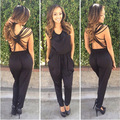 Women's Summer Piece Pants 2016 New Solid Black Nightclub Bandage Jumpsuits Sexy Backless Jumpsuits w/ Pockets Ladies