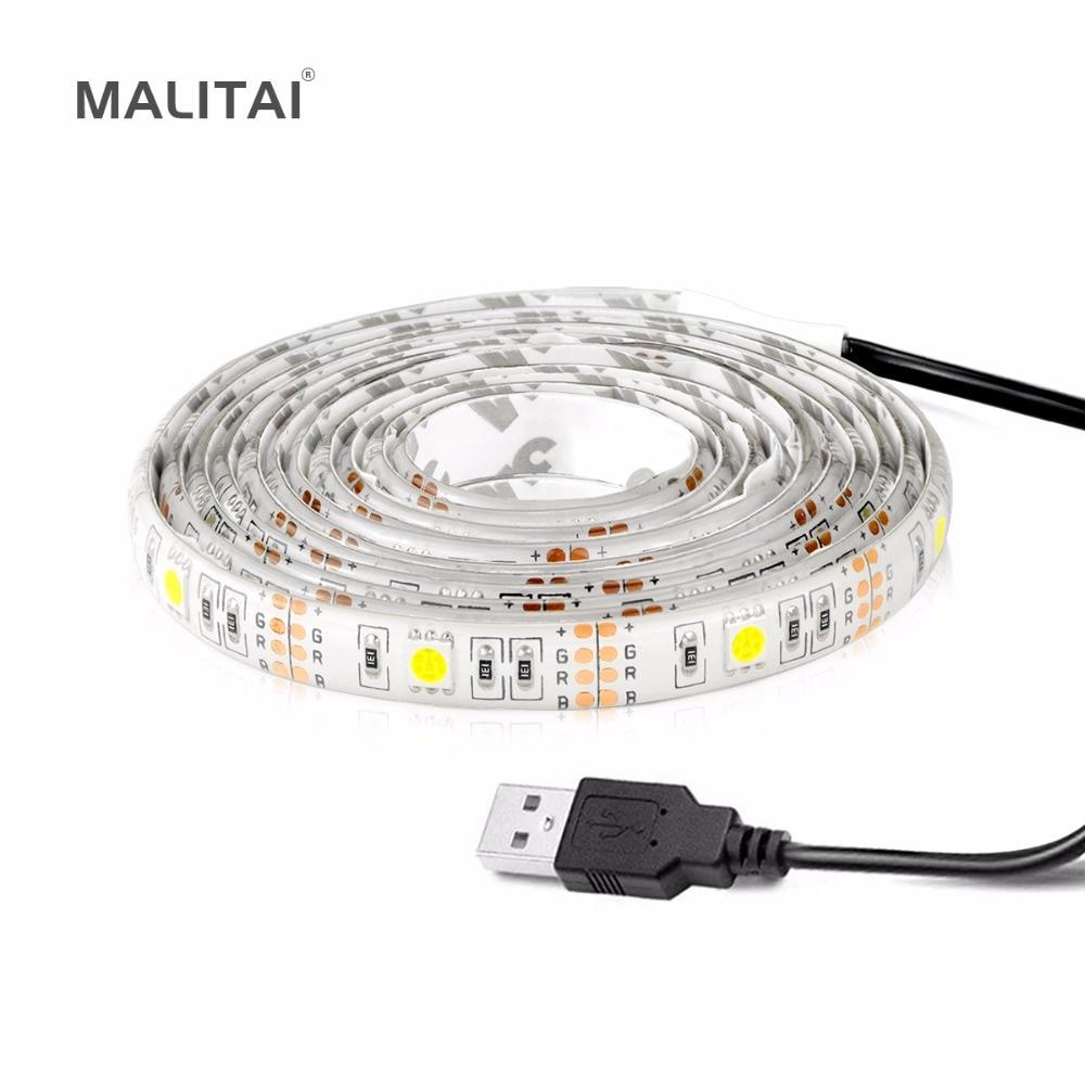 все цены на 5V 50CM 1M 2M 3M 4M 5M USB Cable Power LED Strip light lamp Tape SMD 5050 2835 Christmas Decor String For TV Background Lighting онлайн