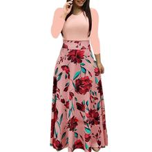 New European &American style Autumn&Winter Print Long Sleeve O-Neck Dress Fashion Casual Slimming Elegant Party Long Dress