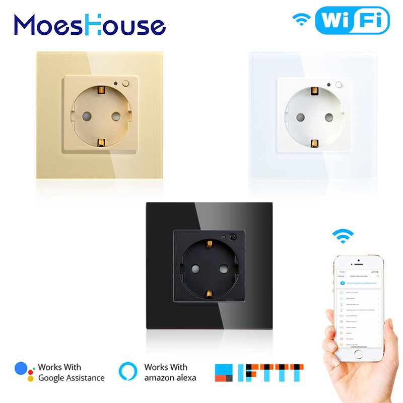 EU WiFi Smart Wall Socket 16A Outlet Glass Panel Gemany Smart Life/Tuya Remote Control Works With Amazon Echo Alexa Google Home
