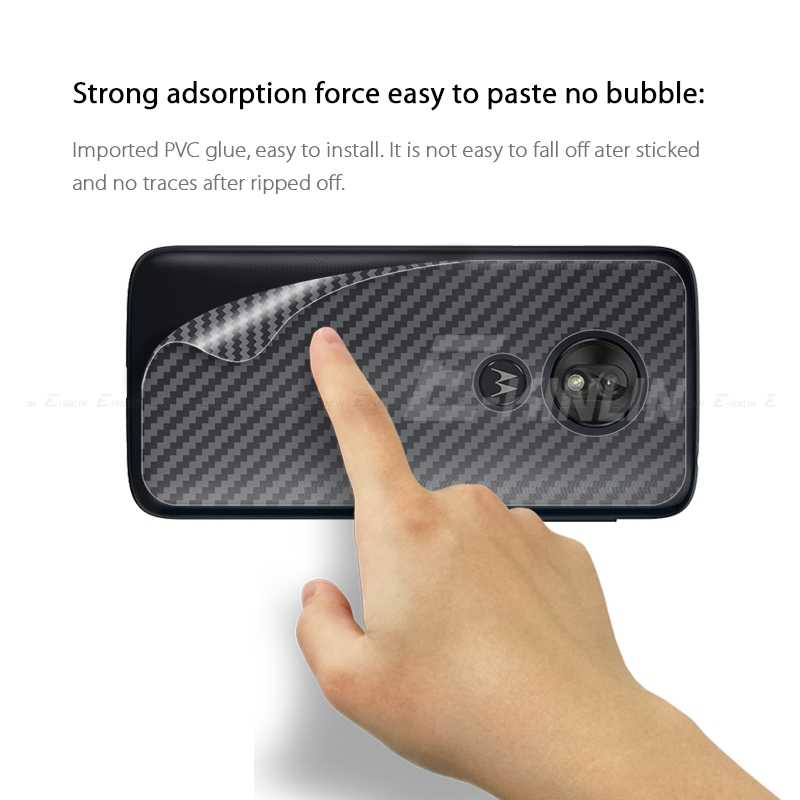 Karbon Fiber arka kapak ekran koruyucu Motorola Moto G7 G6 G5S G5 G4 oyun artı güç etiket koruyucu Film hiçbir cam