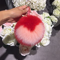 15CM Big Fluffy Real Fox Fur Bag Bugs Pom Pom Keychains Handmade Sweet Heart Key chain Bag Charm Monster Pompoms F112