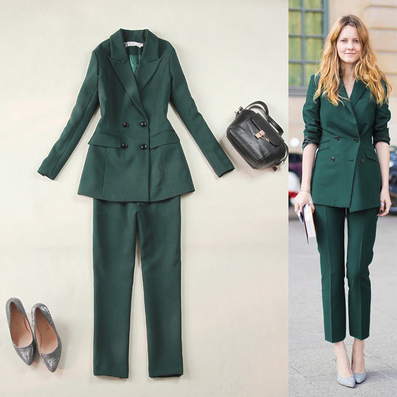 2019 New Arrival Women Dress Suits Two-Piece Suit Green Color Blazer Suits For Wedding Tuxedos Outfit