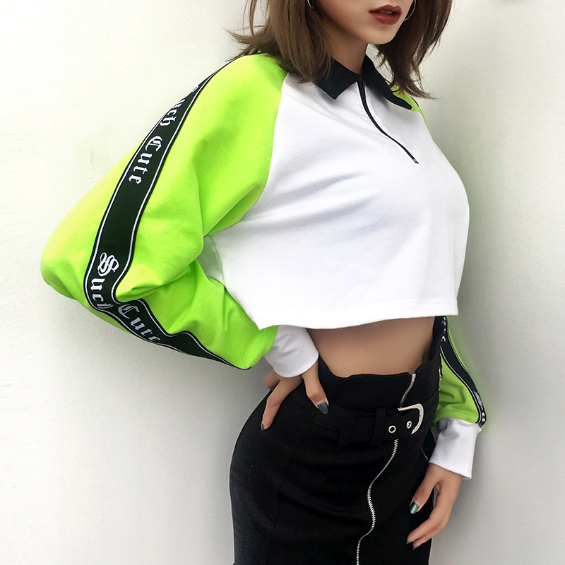 2ccafeafb948c0 Heyouthoney new fashion women casual patchwork turn down collar long sleeve  letter print sweatshirt feminino cropped tops-in Hoodies   Sweatshirts from  ...
