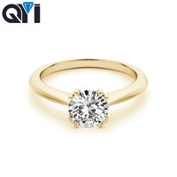 QYI Wedding Ring For Women 1 Ct Round Cut Simulated diamond 14k Yellow gold Classic Gift Engagement Ring