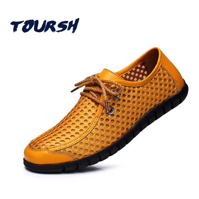 TOURSH Quality Genuine Leather Shoes For Mens Shoes Casual Zapatos Deportivos Hombre Casual Breathable Brown  To The Handmade
