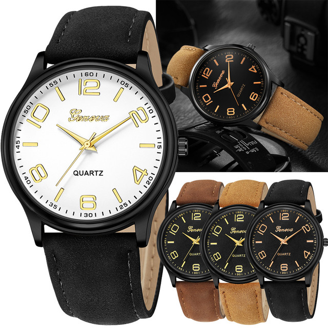 Fashion Women's Date Watches Geneva Stainless Steel Leather Analog Quartz Wrist
