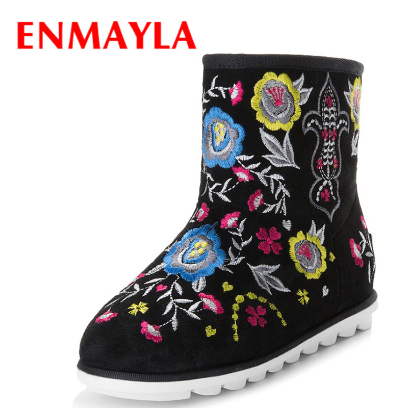 ENMAYLA Ethnic Winter Women Warm Fur Snow Boots Suede Floral Flats Ankle Boots For Women Embroidered Shoes Woman ethnic embroidered black cami dress for women