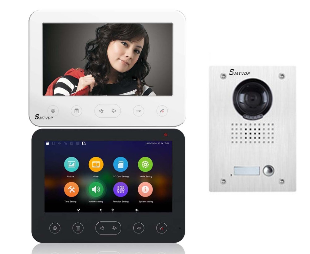 SMTVDP Top Quality Multi-function 7Video Door Phone W/T Support SD Card,2 colors touch screen optional. HD Android UI. 1V1