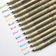 12 шт цветов 1,5 эскиз микро кисть Каллиграфия Живопись игла ручка для мультфильм искусство рисования