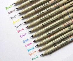 12pc cores 1.5 esboço micro escova caligrafia pintura caneta agulha para desenho da arte dos desenhos animados