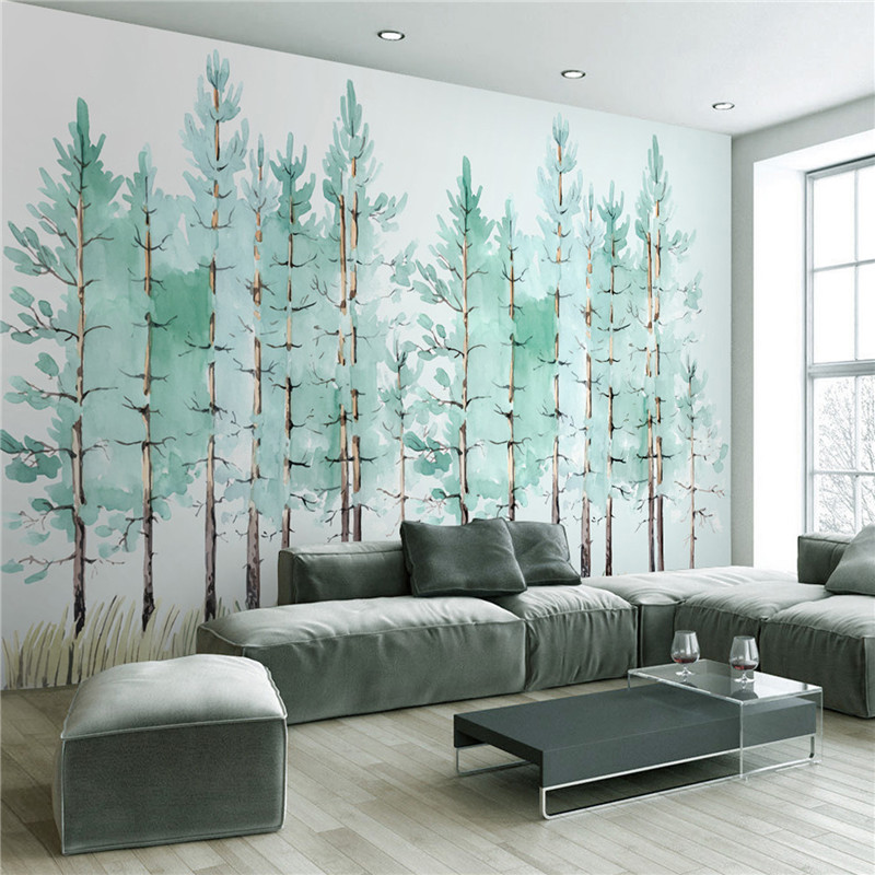 Modern simple bedroom living room wallpaper small fresh green tree Nordic TV background  ...