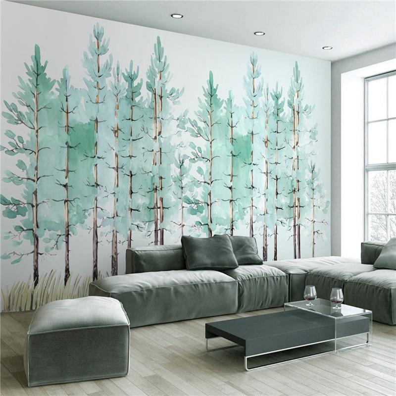 living simple bedroom murals nordic tree fresh mural behang woonkamer wallpapers slaapkamer boom tapete wohnzimmer aliexpress tapeten baum lebih dinding