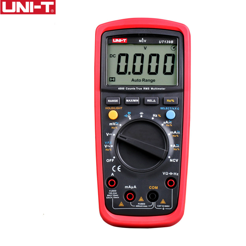 UNI-T UT139B True RMS Digital Multimeter Auto Range AC/DC Amp/Volts Ohm Data Hold, NCV, Battery, Diode Test Free Shipping uni t ut70b lcd digital multimeter auto range frequency conductance logic test transistor temperature analog display