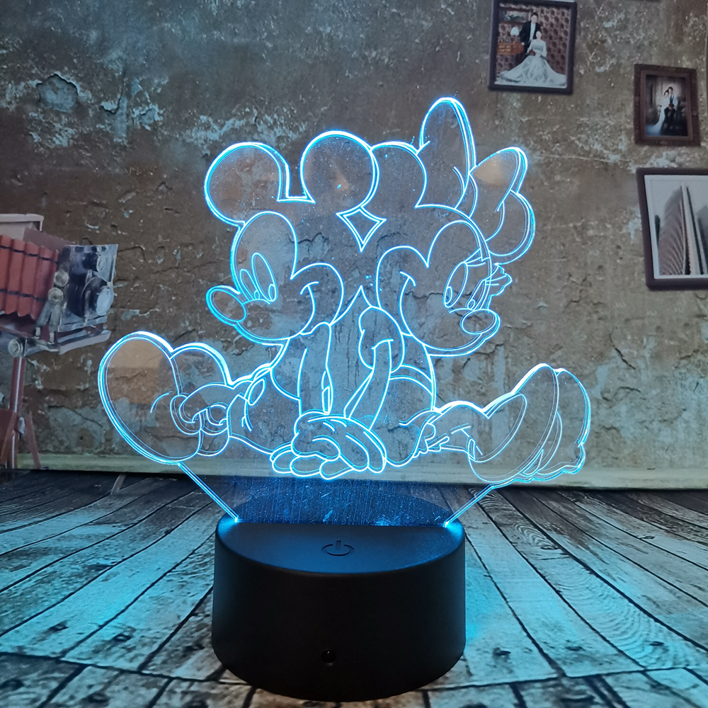 MICKEY MOUSE LED Desk 3D Light USB Touch Illusion 7 Color Change Night Lamps