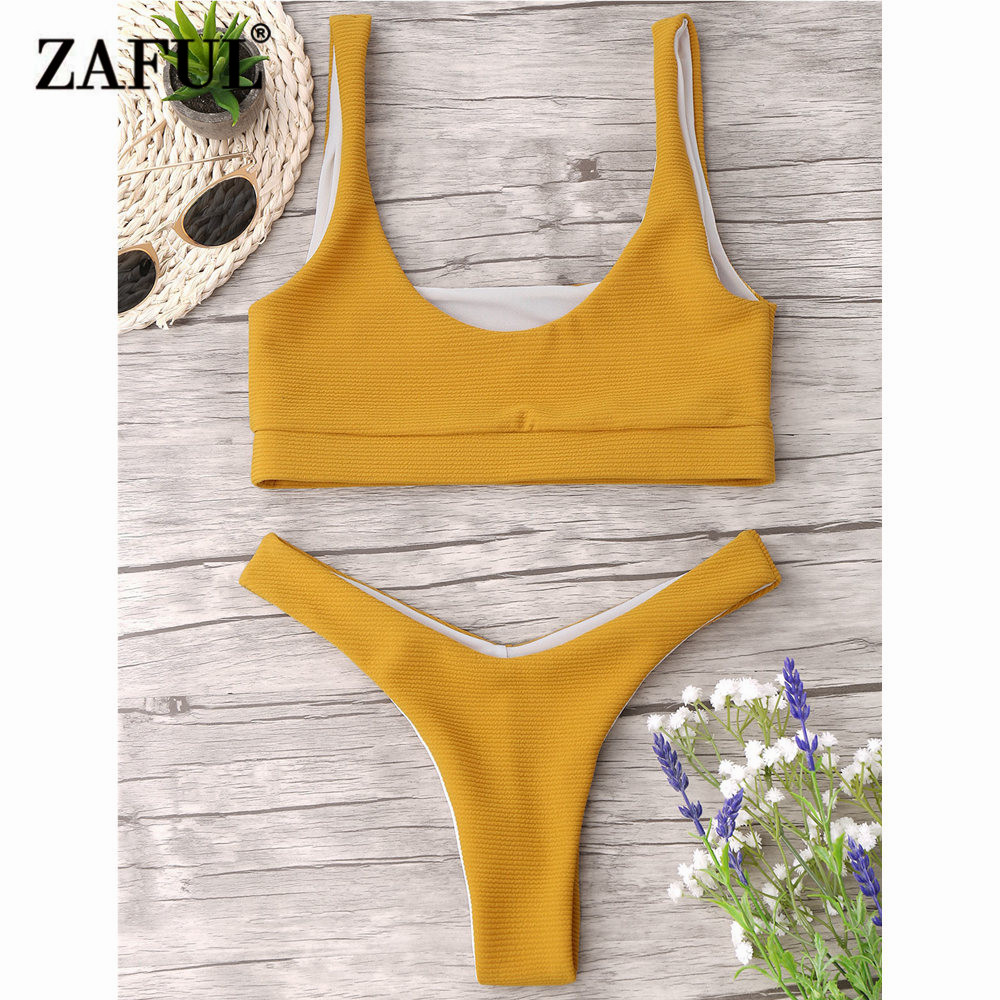 ZAFUL Bikini New Textured High Cut Thong Bikini Set Sexy Low Waisted Bandeau Bralette Brazilian Bikini Swimsuit Women Biquni new denim mesh spliced fishnet sexy jeans shorts high cut vintage cute bikini low rise waist micro mini hot short culb wear f35