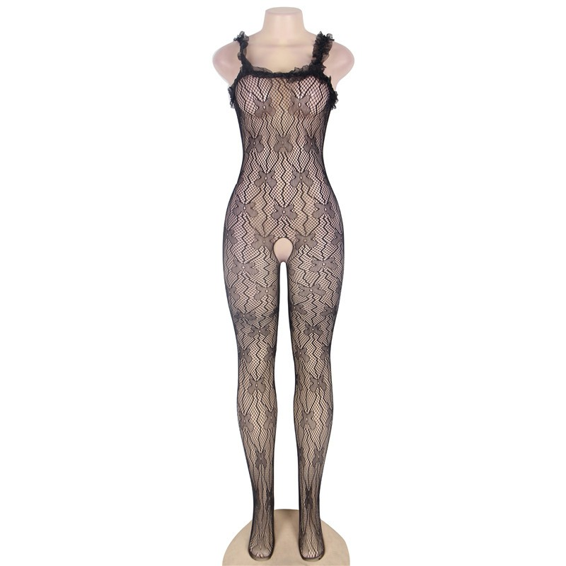 J3139 Black lace trim ropa interior mujer sexy erotica plus size transparent mesh body suit sleeveless open crotch bodysuit 4