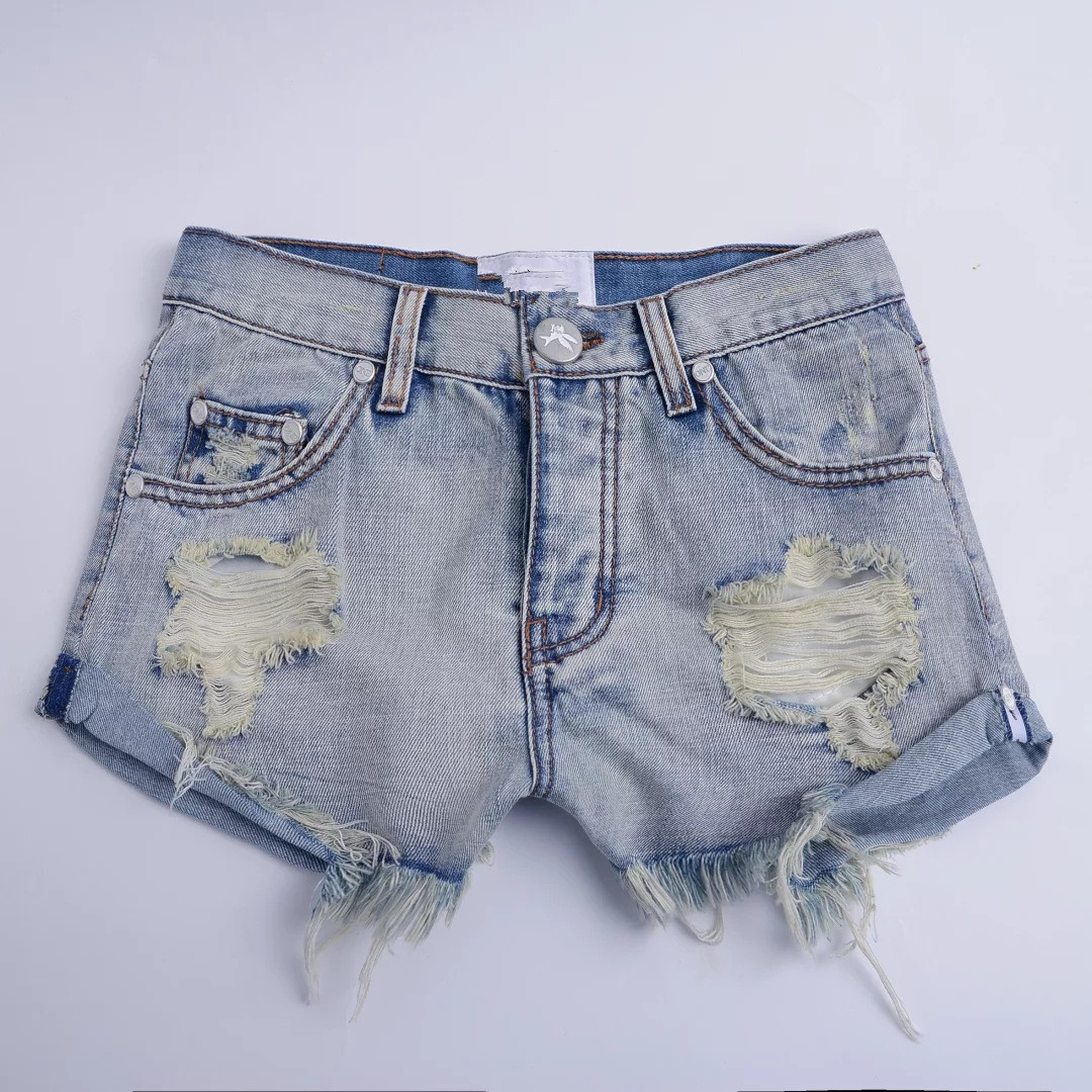 Yollmart Store Yollmart Fashion and Personality Washed Hole Ripped Cuffs Mid Waist Jeans