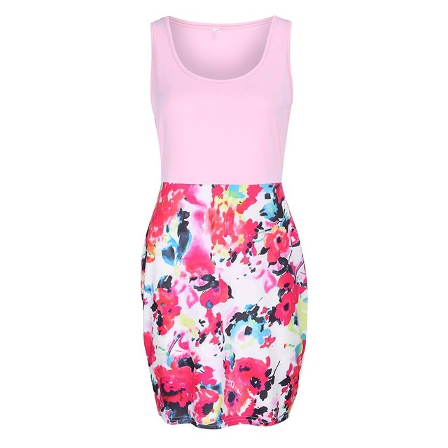 Fashion Women Sleeveless Flower Print Watercolor Floral Pencil Mini Work Dress