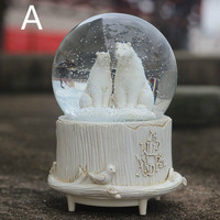 A1 Rotating snow flower crystal ball polar bear music box music box creative gifts presents girls and children LU10301823
