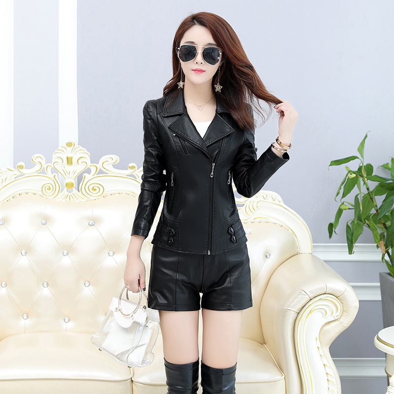 Women Brand   Leather   Jacket 2018 Winter New High Quality Slim Turn Collar Faux   Leather   Jacket Female M-4XL   Leather   Coat