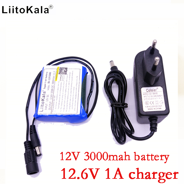 Liitokala New 12V 3000mAh lithium ion 12V 3Ah camera camera battery + 12.6V 1A charger eu / us plug