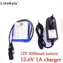 Liitokala bateria câmera 12v 3000mah, carregador de íon de lítio de 12v 3ah + 12.6v 1a ue tomada eua