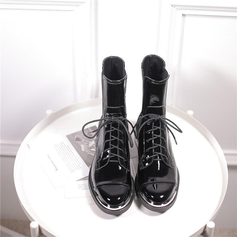 Buono Scarpe Mode Frauen Knöchel Stiefel Warme Echtes Leder High Heels Schuhe Frau Runde Kappe Kreuz gebunden Motorrad Stiefel schnürsenkel-in Knöchel-Boots aus Schuhe bei  Gruppe 3