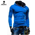 2016 Brand Cardigan Men Oblique Zipper Hoodies Solid Slim Men'S Sportswear Suit Hoodies Men Leisure Men'S Sweatshirt XXL DWQA