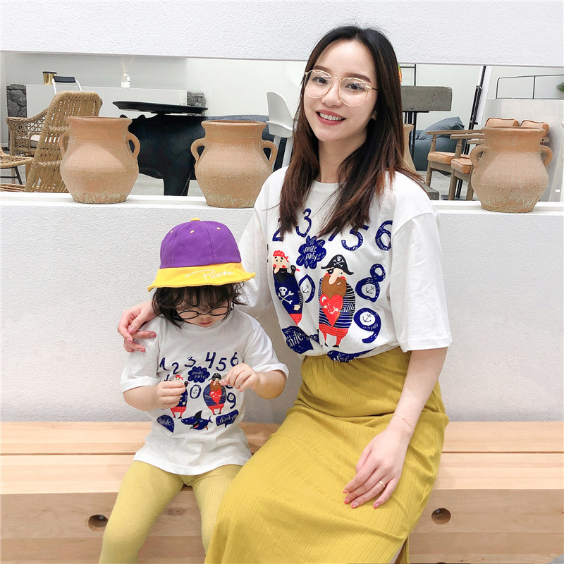 Summer T-Shirt Mommy And me Letter Pattern 100%Cotton T-Shirt Family Matching Outfits Mother Daughter White Loose tshirt Clothes