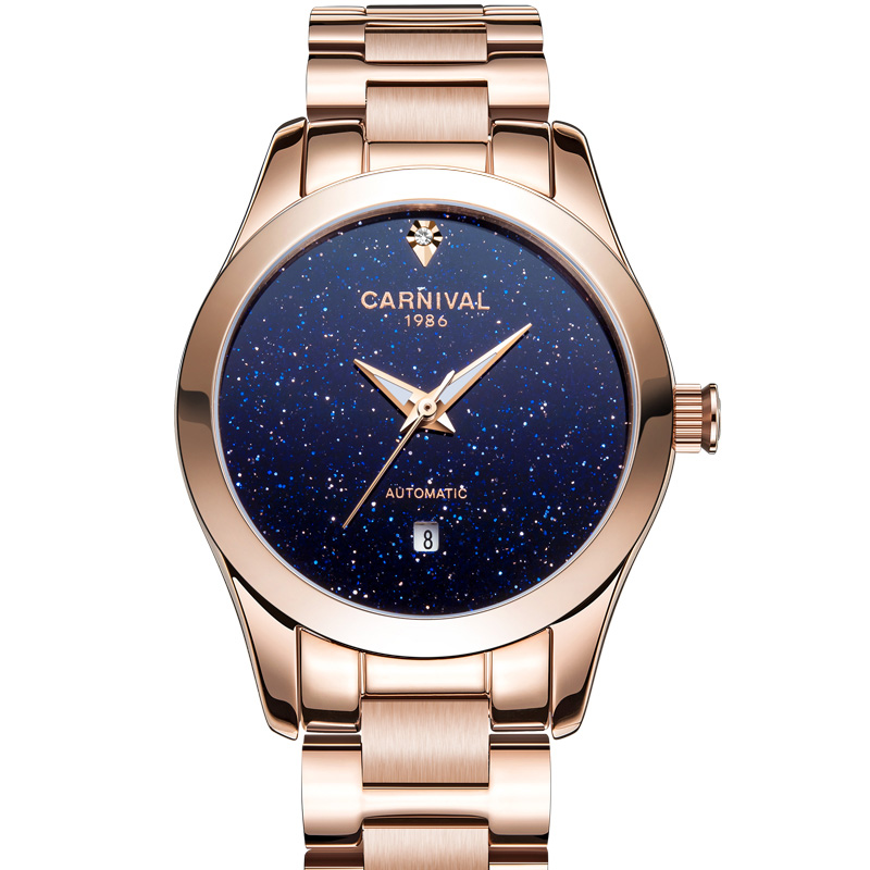 CARNIVAL Luxury Rose gold Automatic Watch wowen Tourbillon Mechanical watches Calendar Sapphire Luminous Full steel Montre femmeCARNIVAL Luxury Rose gold Automatic Watch wowen Tourbillon Mechanical watches Calendar Sapphire Luminous Full steel Montre femme