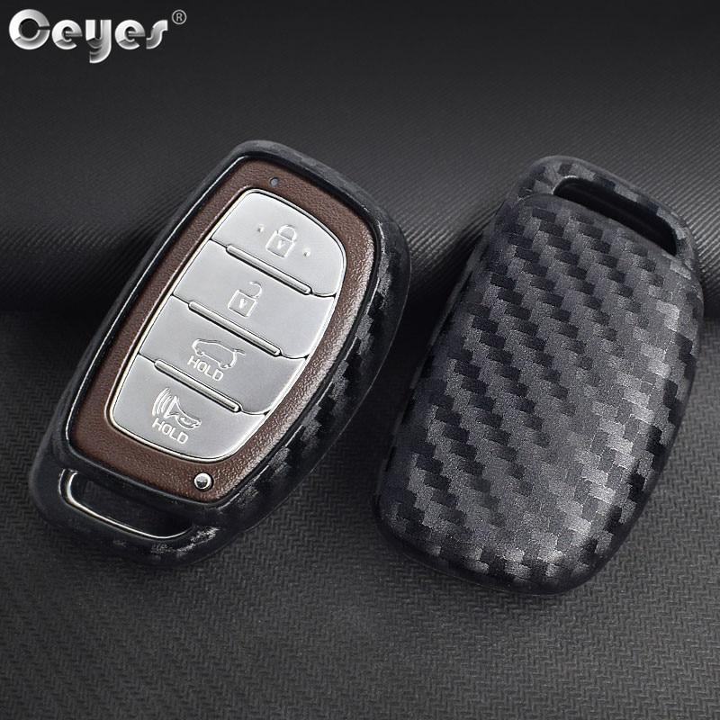 Ceyes автомобильные чехлы для ключей из углеродного волокна, аксессуары, Стильный чехол для Hyundai Verna Sonata Elantra Tucson, чехол с автоматической защито...