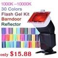 Falcon Eyes CFA-30K Flash Speedlite 30 Colores Kit del Gel del Color con visera y reflector y bolsa para canon nikon yongnuo GODOX