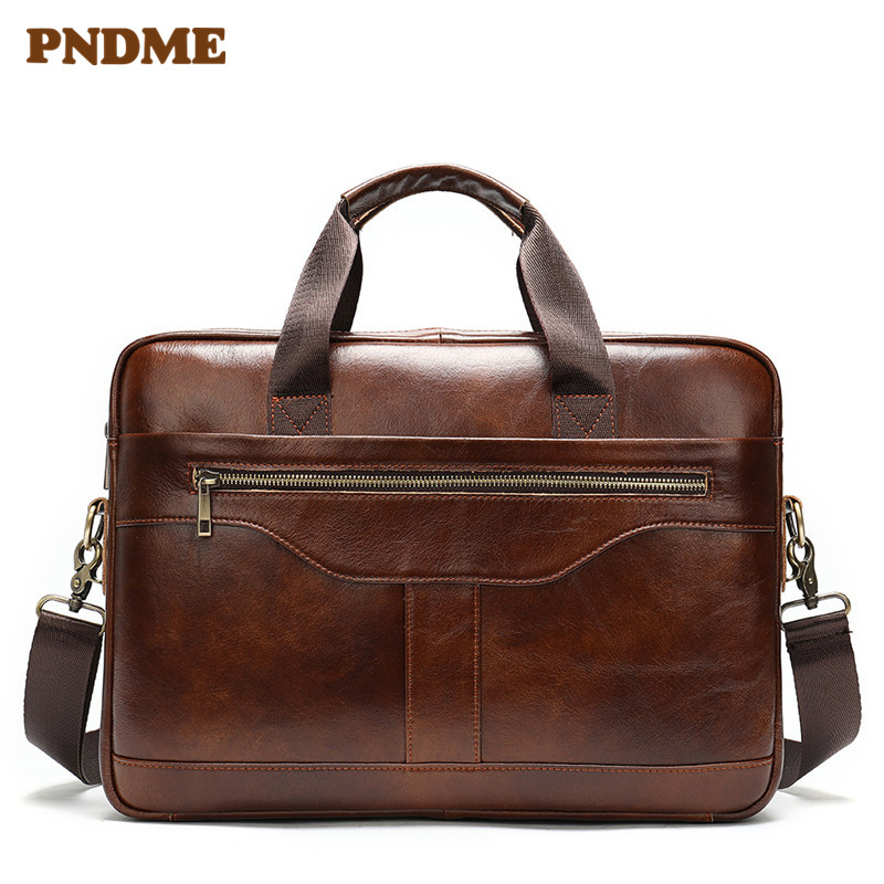 Brown Men's Business Leather Briefcase Office Handbag
